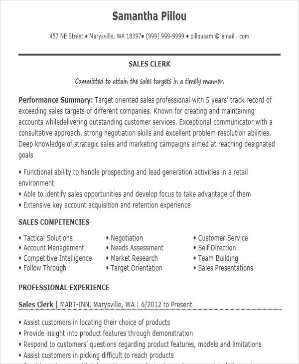 Sales Clerk Job Resume