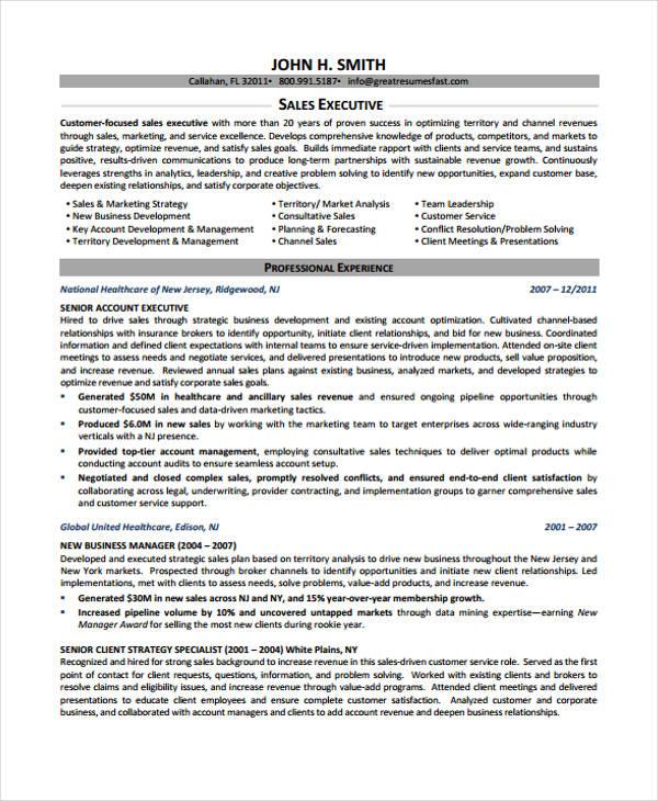 sales executive example - Circulam Vite