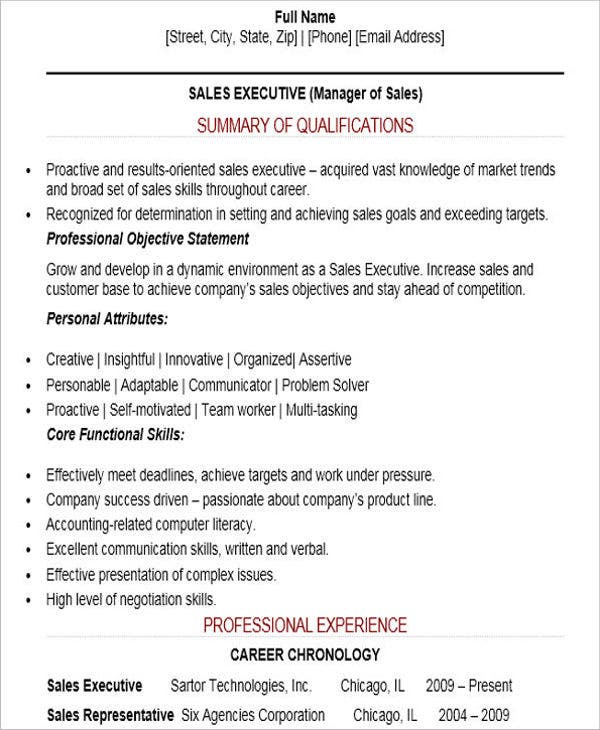 Sales Executive Resume  Sales Skills For Resume