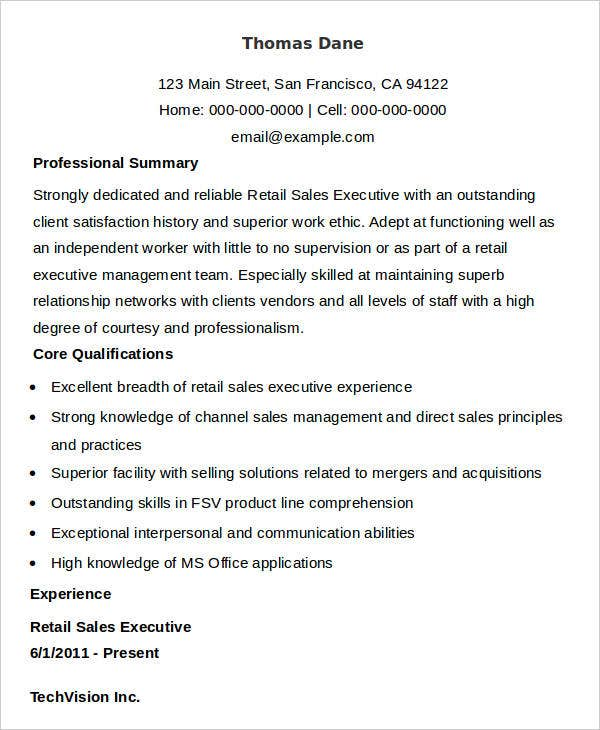 sales executive resume in doc