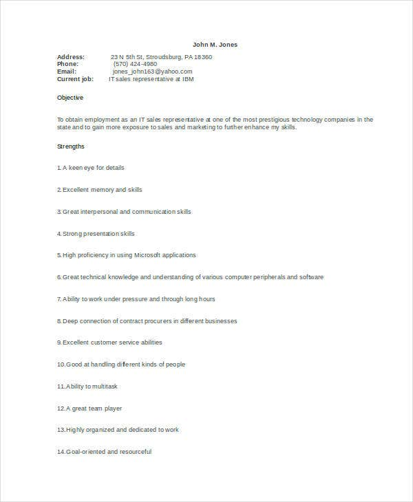 sales one page resume