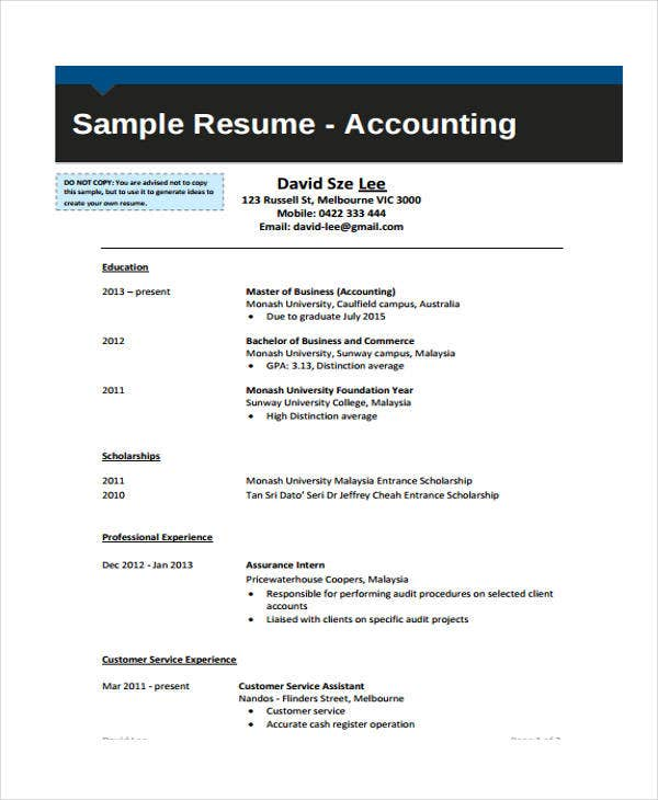 sample accounting graduate
