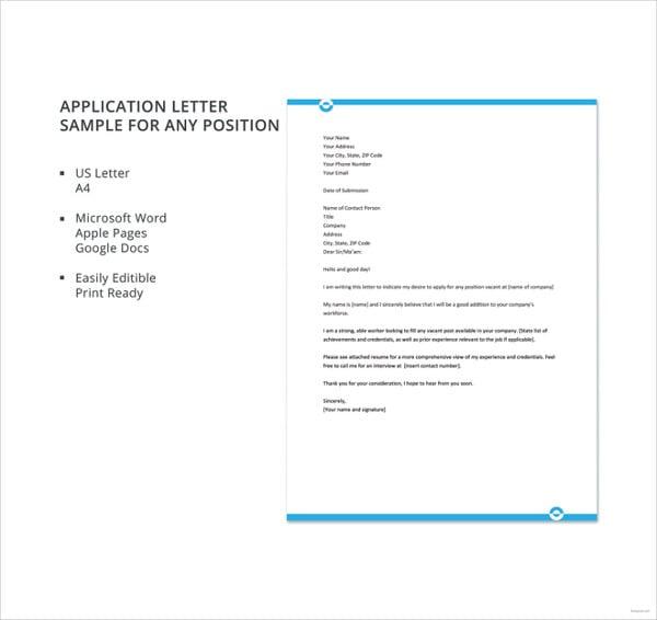 Sample-Application-Letter-For-Any-Position Vacancy Application Letter Sample on sample stay letter, sample sunshine letter, sample hostage letter, sample quarantine letter, sample disconnect letter, sample tenure letter,