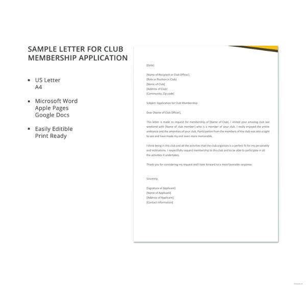 13+ Sample Membership Application Letters - PDF, Word | Free