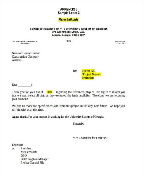 sample bid rejection