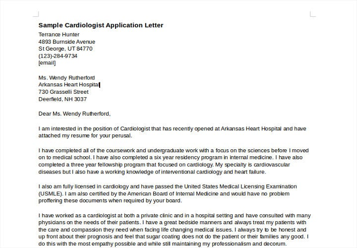 sample cardiologist job application letter