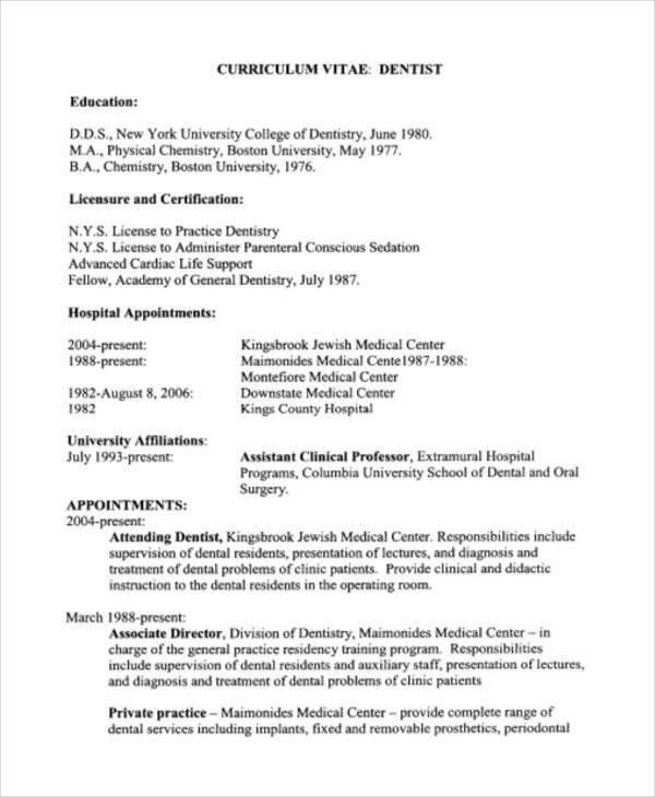 Dentist Curriculum Vitae Templates   Free Word Pdf Format