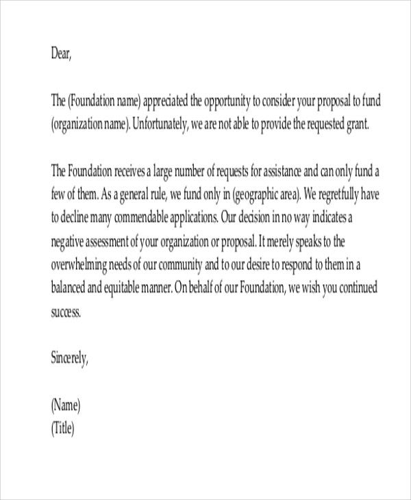 36 rejection letter pdf free premium templates sample donation rejection letter altavistaventures Choice Image