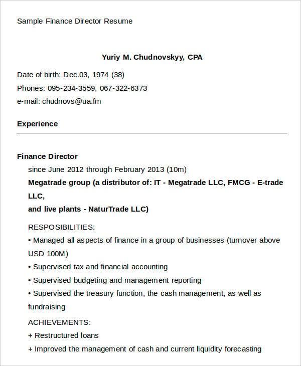 Sample Finance Director Resume