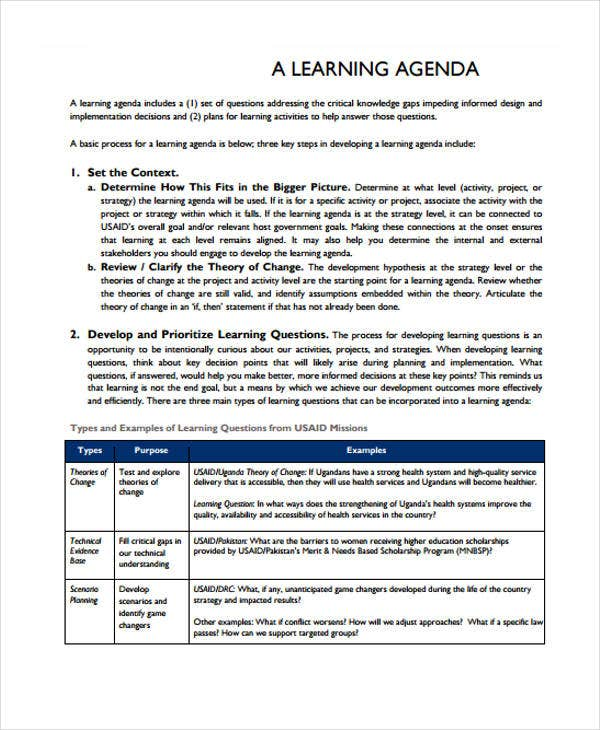sample learning agenda