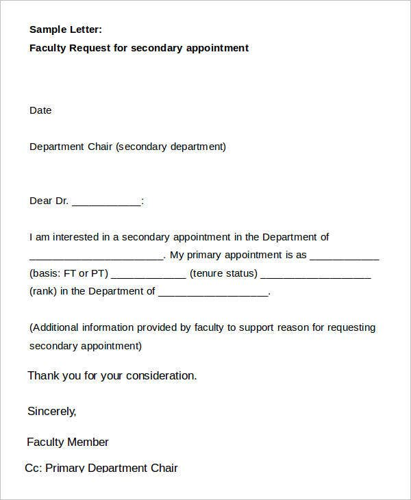 Sample Letter Faculty Request for Secondary Appointment