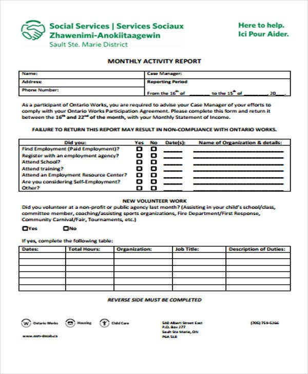 Activity Report Templates  Free Sample Example Format