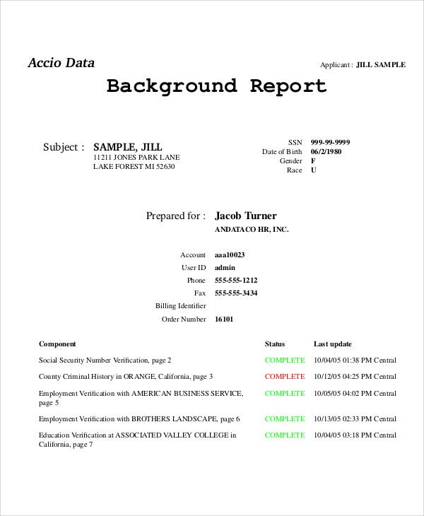 Background Report Templates - 7+ Free Word, Pdf Format Download