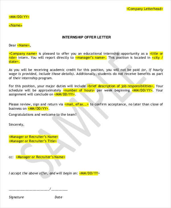 Format of internship letter gallery letter format formal example 7 internship appointment letter templates free sample example thecheapjerseys Choice Image