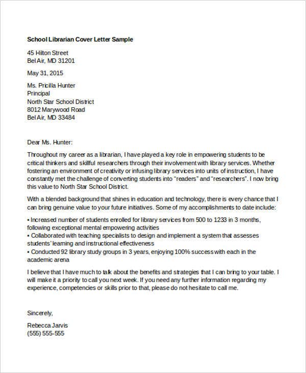 school librarian - Librarian Cover Letter Sample