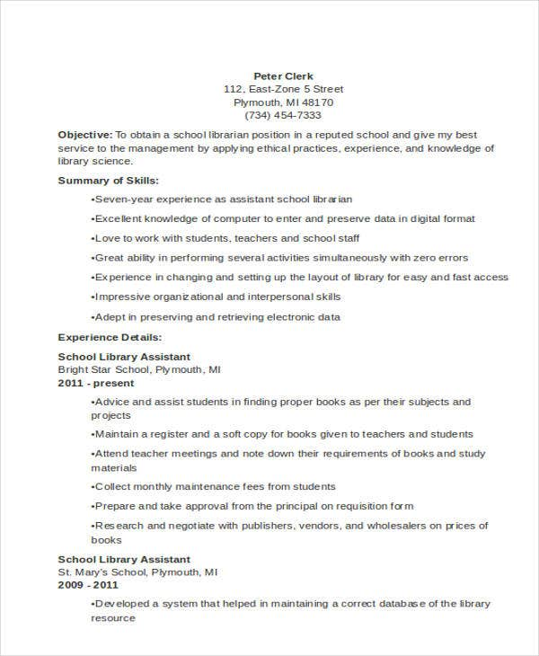 school librarian - Sample School Librarian Resume