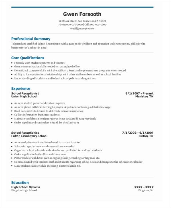 13  receptionist curriculum vitae templates
