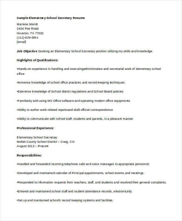 Secretary Resume Templates  Free Sample Example Format
