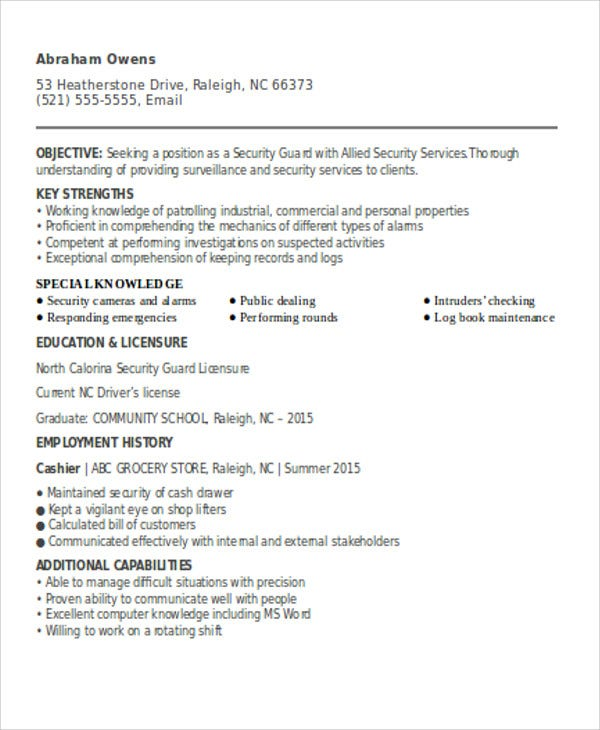 security guard resume - Security Guard Resume Objective