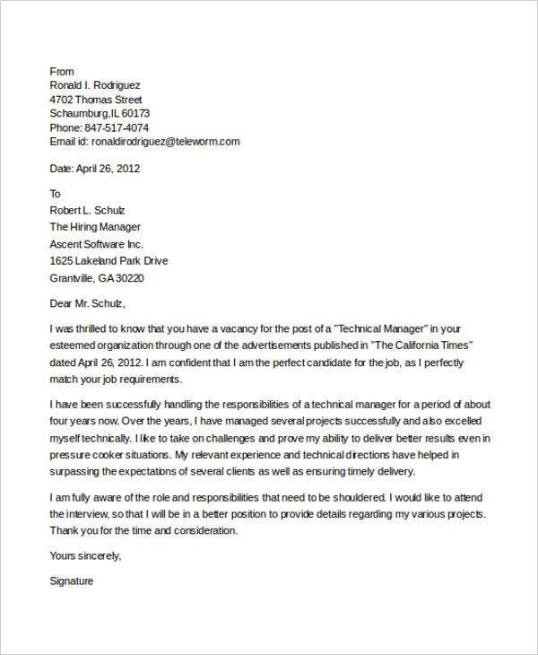 technical manager cover letter - It Manager Cover Letter