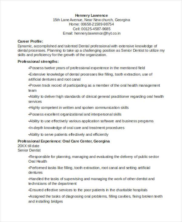 Dentist Curriculum Vitae Templates 8 Free Word Pdf