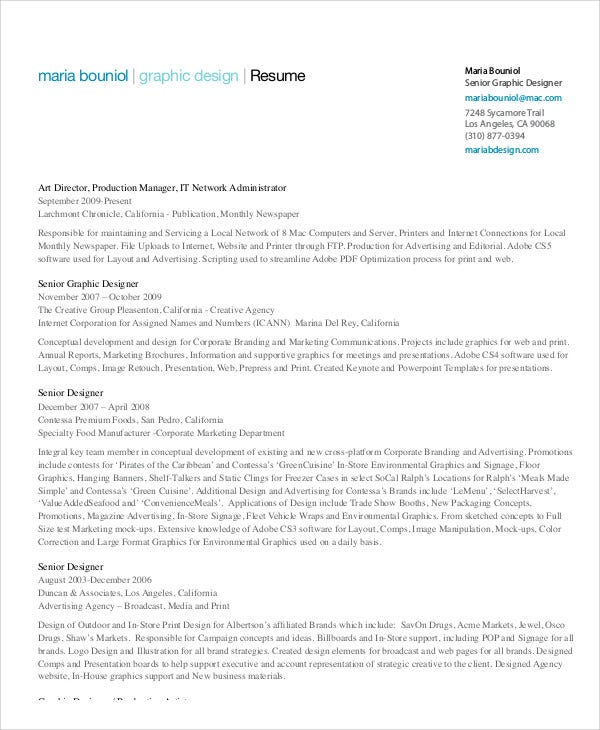 Senior Graphic Designer Resume Template  Graphic Designers Resume
