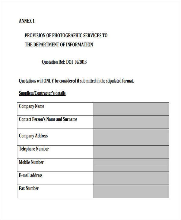 Service Quotation Templates - 6 Free Word, Pdf Format Download