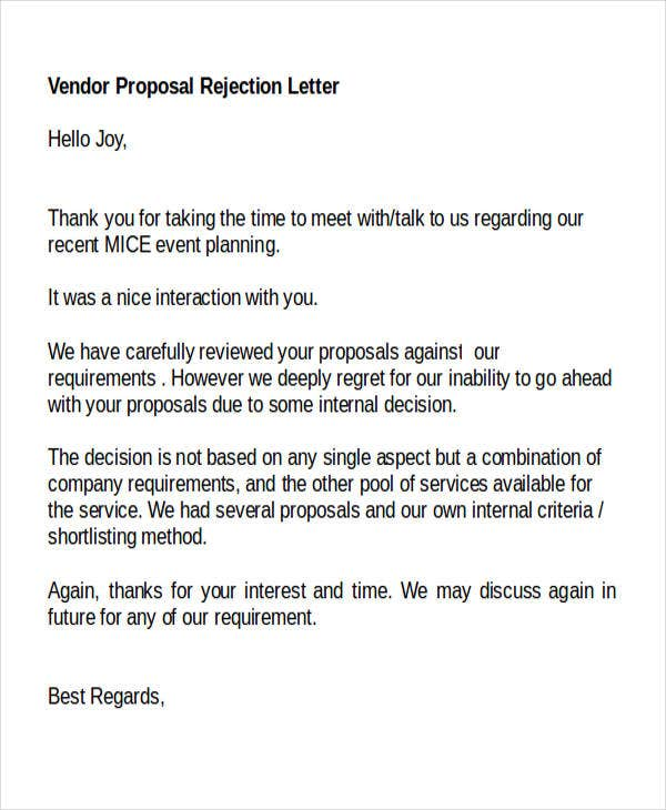 8 proposal rejection letter templates 7 free word pdf for Respond to rfp template