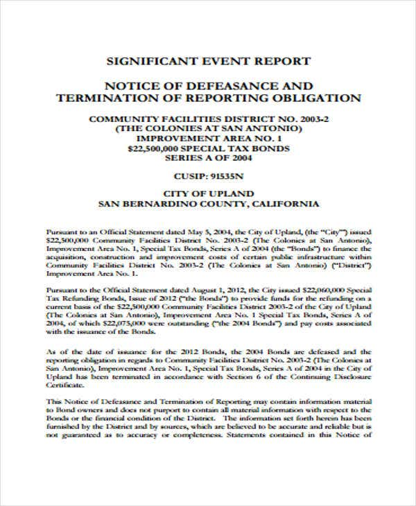 Significant Event Report Template