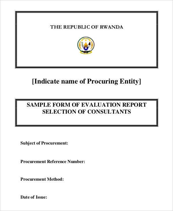 Evaluation Report Templates  Free  Premium Templates