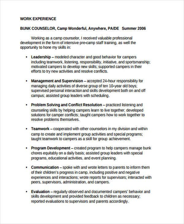 Camp Counselor Resume  Free Sample Example Format Download
