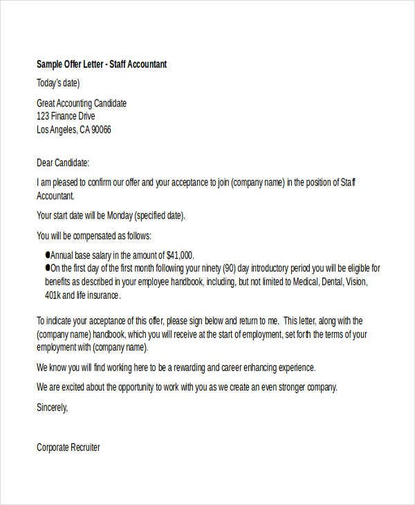Job Offer Letter Templates Samples Word Excel Examples
