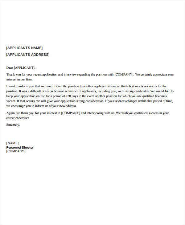 Employment Rejection Letters - 6+ Free Sample, Example Format