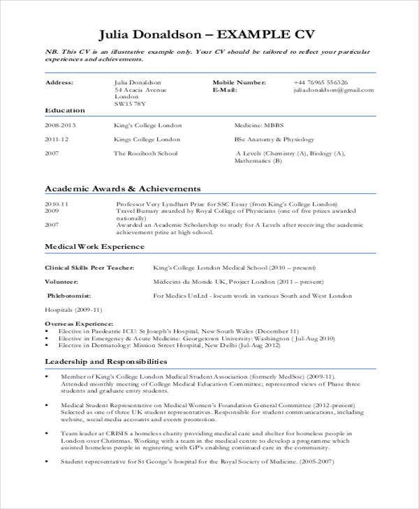 Sample Medical Curriculum Vitae  Free Sample Example Format