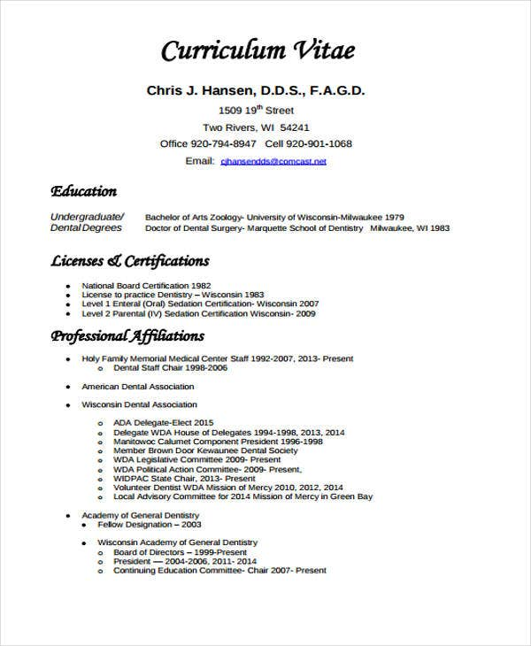 Exceptional Dentist Curriculum Vitae Sample Intended Dentist Resume Sample