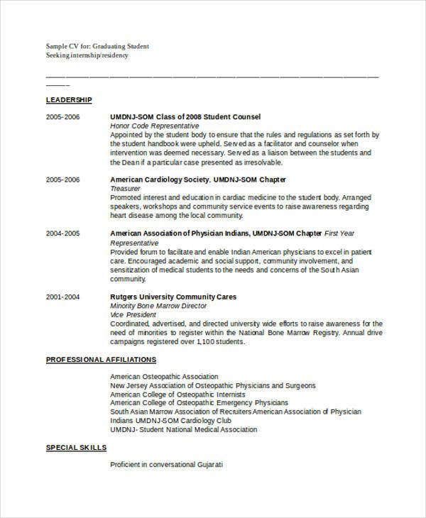 Doctor Curriculum Vitae Template 9 Free Word Pdf Document