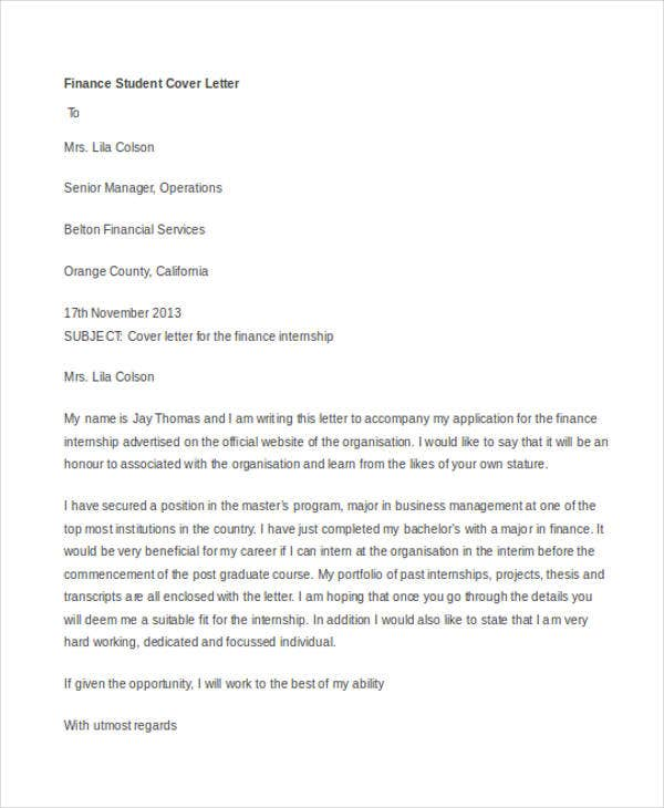 Finance Internship  What To Say In A Cover Letter