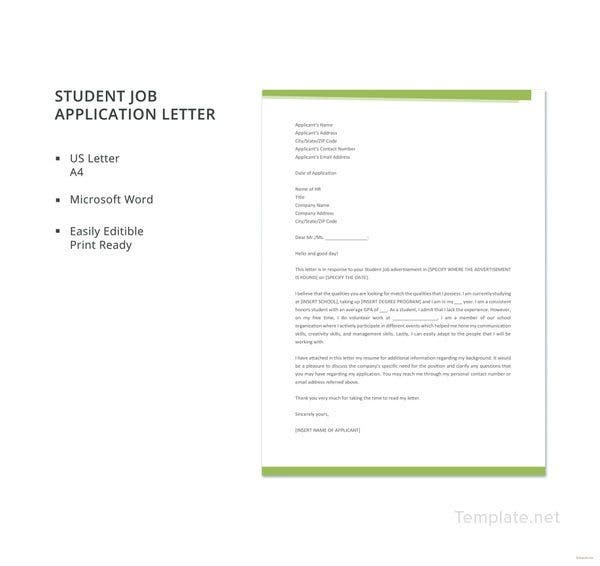 student-job-application-letter-template