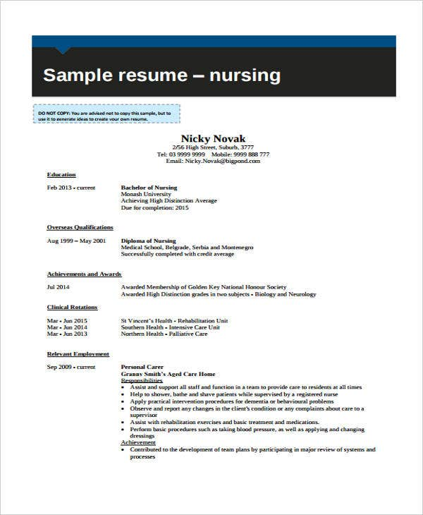 student nurse curriculum vitae