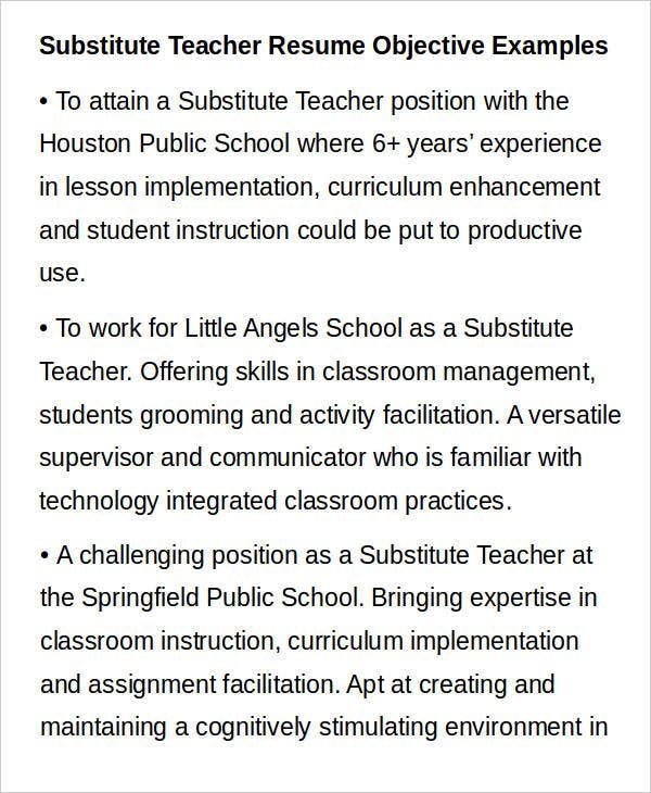 Substitute Teacher Resume Objective