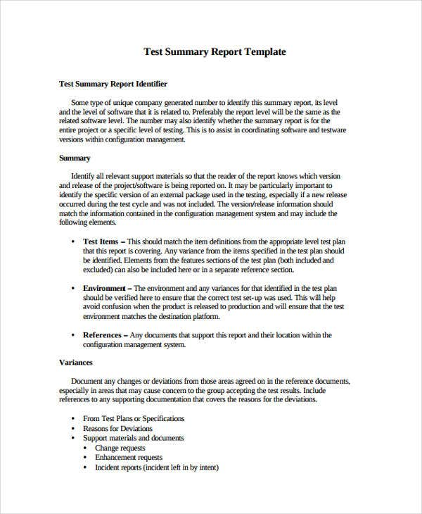 Test Report Templates  Free Word Pdf Format Download  Free