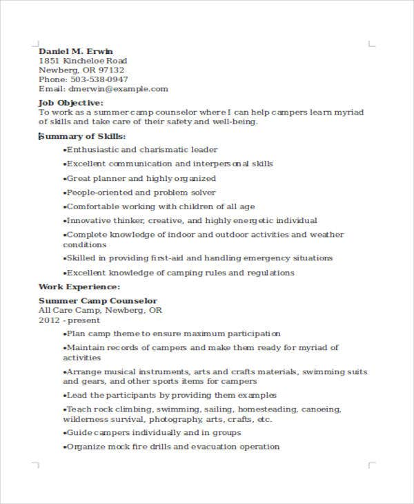 summer camp counselor resume
