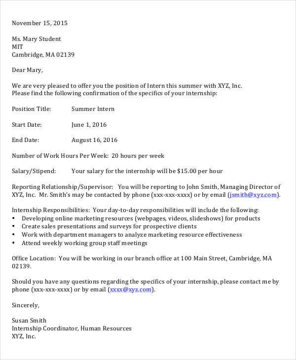 7 Internship Appointment Letter Templates Free Sample Example