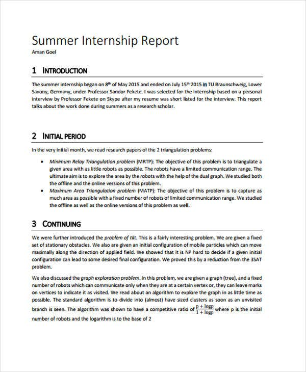 Internship monthly report