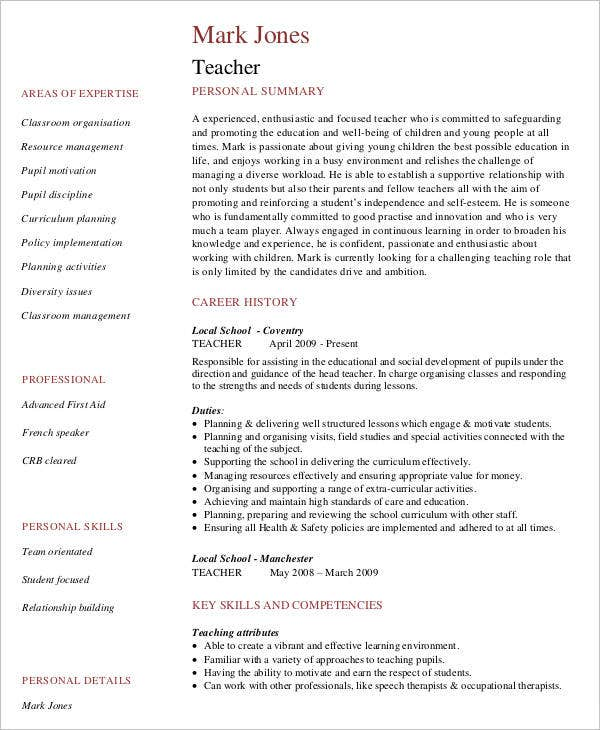 9 Teaching Curriculum Vitae Free Sample Example Format