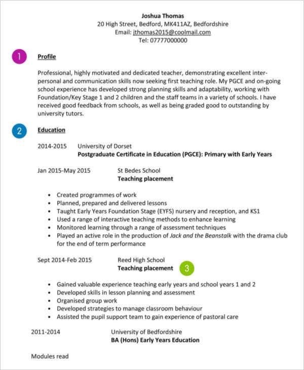 First Time Teacher CV Template