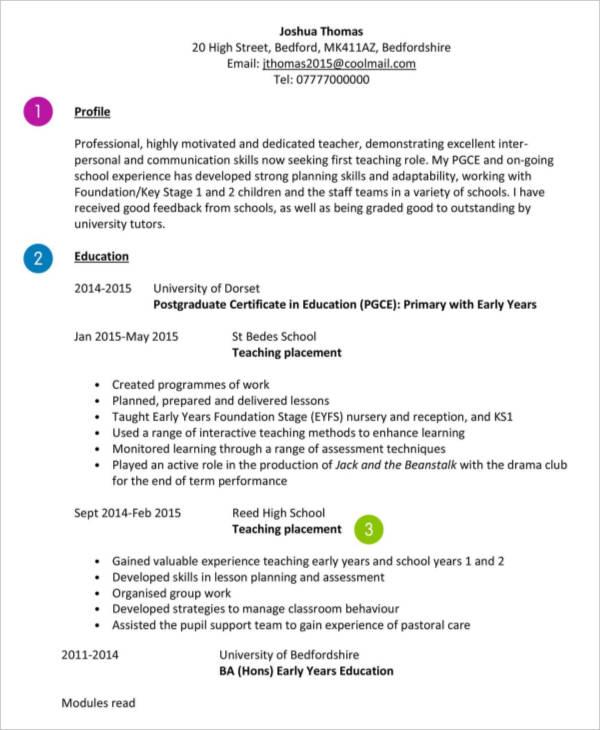 10 teaching curriculum vitae templates pdf doc free