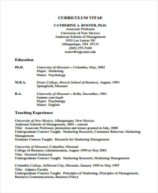 10 Education Curriculum Vitae Templates Pdf Doc Free Premium