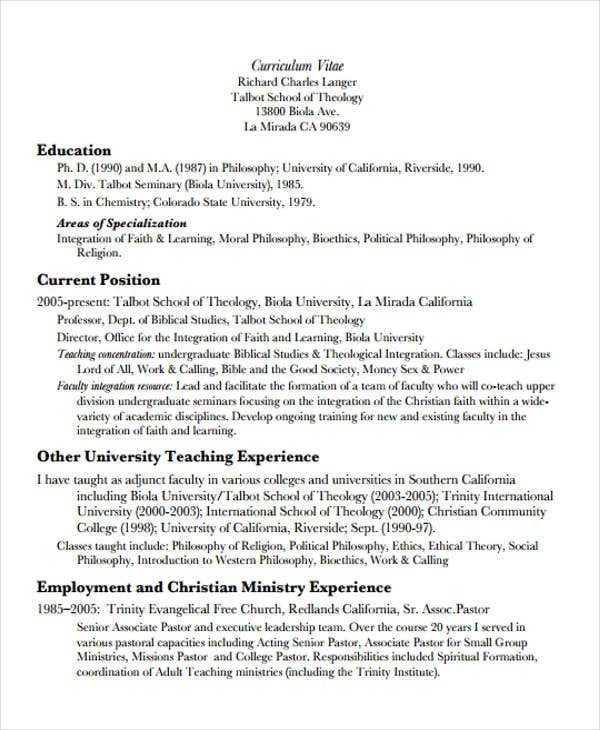 teaching position curriculum vitae