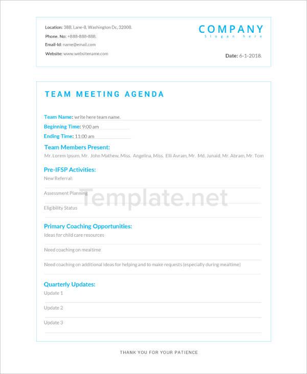 Team Agenda Template